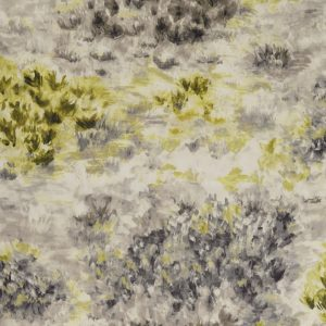 Clarke and Clarke Exotica Fiore Charcoal/Chartreuse F1298-01