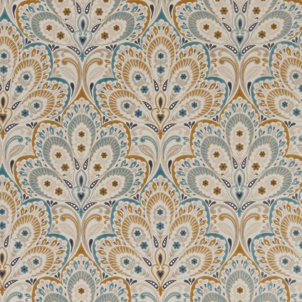 Clarke and Clarke Eden Persia Teal/Spice F1332-05