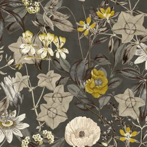 Clarke and Clarke Exotica Passiflora Charcoal F1304-01