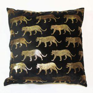005210 AH Velvet & Foil Leopard Cushion